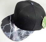 Wholesale Thunder Blank Snapback Caps - Black with Pink Lightning - Black Crown