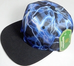 Wholesale Thunder Blank Snapback Caps - Blue - Black Bill