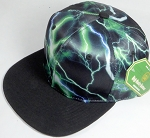 Wholesale Thunder Blank Snapback Caps - Green - Black Bill
