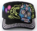 Wholesale Rhinestone Castro Cap - Blue Sugar Skull - Black