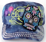 Wholesale Rhinestone Castro Cap - Black Sugar Skull - Splash Dark Denim