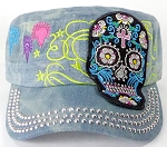 Wholesale Rhinestone Castro Cap - Black Sugar Skull - Splash Light Denim