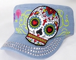 Wholesale Rhinestone Castro Cap - Hearty Eyes Sugar Skull - Light Stone Denim
