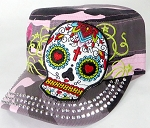 Wholesale Rhinestone Cadet Hats - Hearty Eyes Sugar Skull - Pink Camo