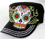 Wholesale Rhinestone Castro Cap - Hearty Eyes Sugar Skull - Black