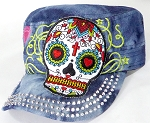 Wholesale Rhinestone Castro Cap - Hearty Eyes Sugar Skull - Splash Dark Denim
