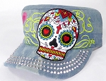 Wholesale Rhinestone Castro Cap - Hearty Eyes Sugar Skull - Splash Light Denim