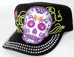 Wholesale Rhinestone Castro Cap - Sugar Skull Purple Outline - Black