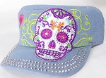 Wholesale Rhinestone Castro Cap - Sugar Skull Purple Outline - Denim Light Stone