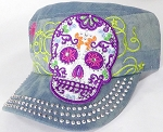 Wholesale Rhinestone Castro Cap - Sugar Skull Purple Outline - Splash Light Denim