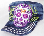 Wholesale Rhinestone Castro Cap - Sugar Skull Purple Outline - Splash Dark Denim