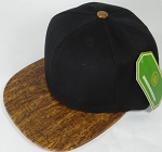 Wholesale Blank Snapback Caps - Brown Oak Woodbrim