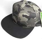 Wholesale Blank Snapback Caps - Charcoal Camo - Black Brim
