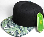 Wholesale Banana Floral Blank Snapback Hat - Black Crown