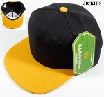 KIDS Jr. Plain Snap back Hats Wholesale - Two Tone - Black | Gold Yellow