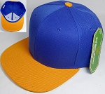 Wholesale Blank Snapback Hats & Caps Two Tone - Royal Blue | Gold Yellow