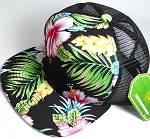 Wholesale Mesh Trucker 5 Panel Snapback Blank Hats - Floral Hawaiian Hibiscus - Black