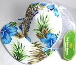Wholesale Mesh Trucker 5 Panel Snapback Blank Hats - Floral Hawaiian Hibiscus - White Blue