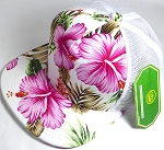 Wholesale Mesh Trucker 5 Panel Snapback Blank Hats - Floral Hawaiian Hibiscus - White Pink