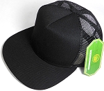 Wholesale Mesh Trucker 5 Panel Snapback Blank Hats - Solid - Black