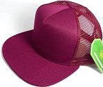 Wholesale Mesh Trucker 5 Panel Snapback Blank Hats - Solid - Burgundy
