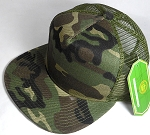 Wholesale Mesh Trucker 5 Panel Snapback Blank Hats - Solid -  Green Camo
