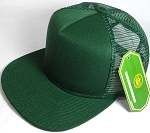 Wholesale Mesh Trucker 5 Panel Snapback Blank Hats - Solid - Dark Green