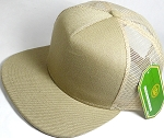 Wholesale Mesh Trucker 5 Panel Snapback Blank Hats - Solid - Khaki