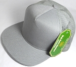 Wholesale Mesh Trucker 5 Panel Snapback Blank Hats - Solid - Light Gray