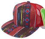 Wholesale Mesh Trucker 5 Panel Snapback Hats - Aztec - Red Diamond