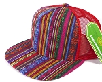 Wholesale Mesh Trucker 5 Panel Snapback Hats - Aztec - Red Stripe