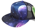 Wholesale Mesh Trucker 5 Panel Snapback Hats - Galaxy - Blue