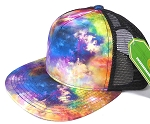 Wholesale Mesh Trucker 5 Panel Snapback Hats - Galaxy - Multicolor