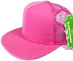 Wholesale Mesh Trucker 5 Panel Plain Snapback Hats - Hot Pink