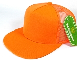 Wholesale Mesh Trucker 5 Panel Plain Snapback Hats - Orange