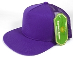 Wholesale Mesh Trucker 5 Panel Plain Snapback Hats - Purple