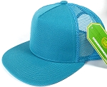 Wholesale Mesh Trucker 5 Panel Plain Snapback Hats - Turquoise