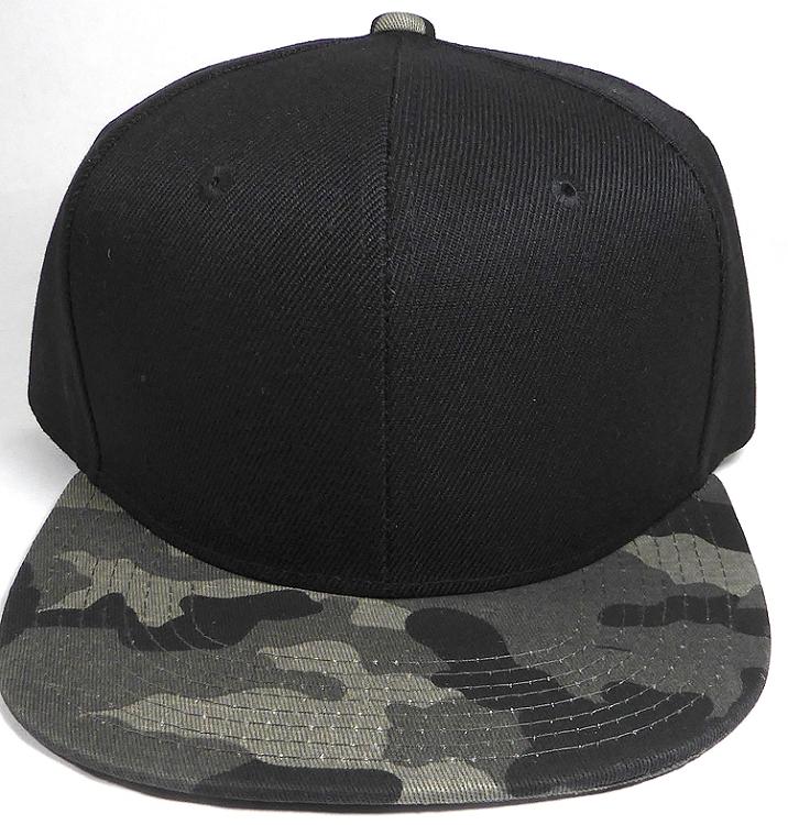 dc747d323df Wholesale Blank Snapback Caps - Charcoal Camo - Black Crown