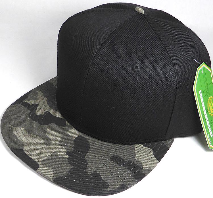 Wholesale Blank Snapback Caps - Charcoal Camo - Black Crown afb372f6597