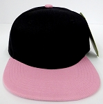 KIDS Junior Wholesale Blank Snapback Hats  - Black/ L.Pink
