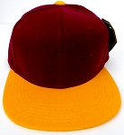 KIDS Junior Wholesale Blank Snapback Hats  - Burgandy / Gold