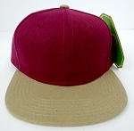 KIDS Junior Wholesale Blank Snapback Hats  - Burgandy / Khaki