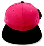 KIDS Junior Wholesale Blank Snapback Hats  - Hot Pink / Black