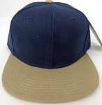 KIDS Junior Wholesale Blank Snapback Hats  - Navy / Khaki