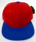 KIDS Junior Wholesale Blank Snapback Hats  - Red / Royal Blue
