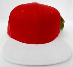KIDS Junior Wholesale Blank Snapback Hats  - Red / White