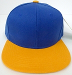 KIDS Junior Wholesale Blank Snapback Hats  Royal Blue / Gold
