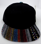 KIDS Jr. Plain Snap back Hats Wholesale - Aztec MultiColor Stripes -Black.Aztec 2