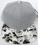 KIDS Jr. Plain Snap back Hats Wholesale - Denim Grey -PU White flower