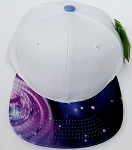 KIDS Jr. Plain Snap back Hats Wholesale - White Galaxy Navy